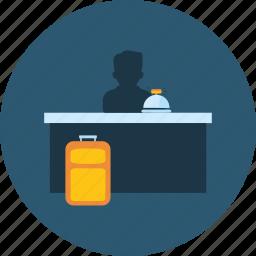 customer, desk, front, hotel, reception, receptionist, service icon