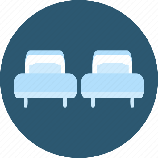 bed, bedroom, hostel, hotel, rest, trip, twin bed icon