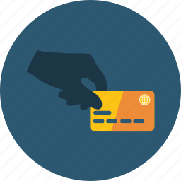 card, commercial, credit, ecommerce, hand, money, paying icon