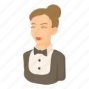 cartoon, female, maid, object, service, uniform, worker icon