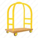 baggage, cart, cartoon, hotel, luggage, object, trolley