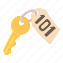 cartoon, door, hotel, key, lock, object, room