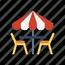 chair, interior, table, umbrella