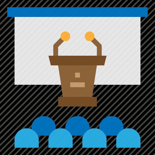 conference, podium, room, speaker icon