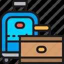 bag, business, hotel, line, luggage, suitcase, travel icon