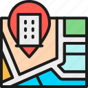 business, hotel, line, map, mark, outline, pin icon