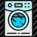 business, hotel, machine, outline, wash, washer, washing icon