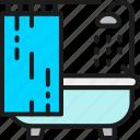 bathtub, business, hotel, outline, shower, thin, web icon