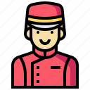 bellboy, hotel, man, service icon