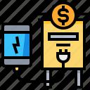 charge, mobile, money, plug, smartphone icon