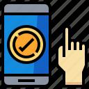 checking, click, mark, mobile, smartphone icon