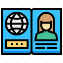 book, girl, global, human, passport icon
