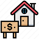 house, money, rental, tag icon