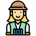 girl, photography, tourist, woman icon