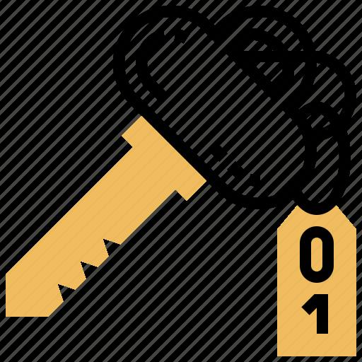 door, hotel, key, lock, room icon