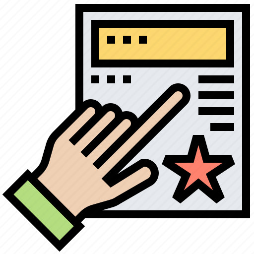 assessment, document, evaluation, hand, inspection icon