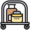 baggage, hotel, luggage, service, trolley icon