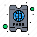 hotel, pass, ticket icon