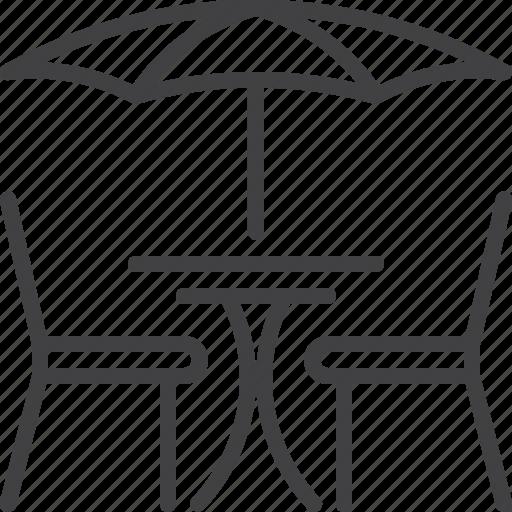 cafe, restaurant, street, table, umbrella icon
