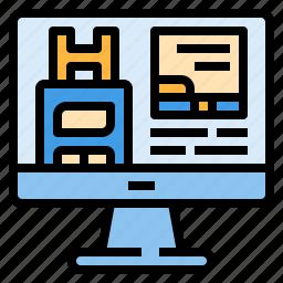 booking, computer, hostel, hotel, online, service, travel icon