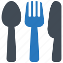 cutlery, fork, kitchenware, knife, spoon icon