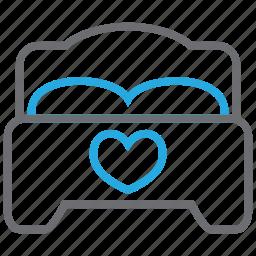 bed, bedroom, furniture, heart, hotel, love, sleep icon