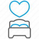 bed, bedroom, heart, hotel, love, sleep, valentine icon