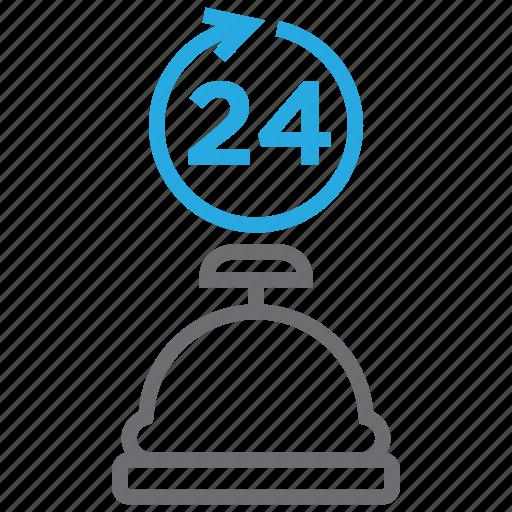 alarm, alert, bell, hotel, restaurant, ring, service icon