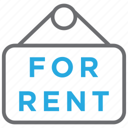 estate, for rent, home, house, plate, rent, sign icon