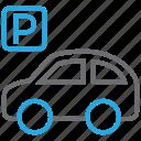 auto, car, garage, parking, parking lot, sign, vehicle icon