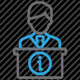 desk, help, hotel, info, reception, service, support icon