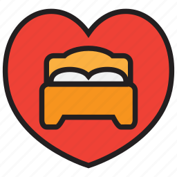 bed, bedroom, furniture, heart, hotel, romantic, sleep icon