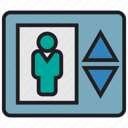 down, elevator, lift, transport, up icon