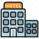 building, hotel, restaurant, service, travel icon