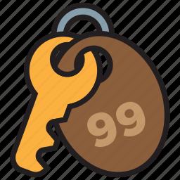 hotel, key, lock, number, room icon