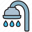 bath, bathroom, bathtub, drop, faucet, shower, water icon