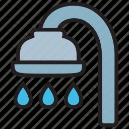 bath, bathroom, bathtub, drop, faucet, shower, water icon