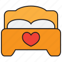 bed, bedroom, furniture, heart, love, romance, sleep icon