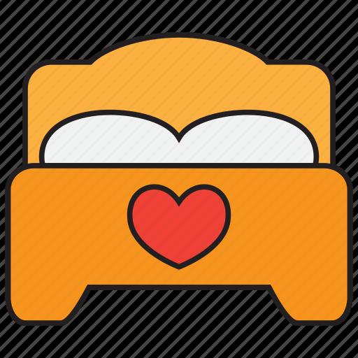 bed, bedroom, furniture, heart, love, romance, sleep icon