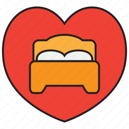 bed, bedroom, furniture, heart, hotel, love, sleep icon