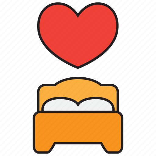 bed, bedroom, furniture, heart, love, romance, romantic icon