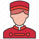 bellboy, avatar, hotel, man, waiter, male icon