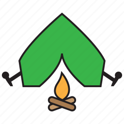 camp, camping, fire, tent, travel icon