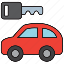 auto, automobile, car, key, rental, transport, vehicle icon