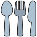 cutlery, fork, kitchen, knife, restaurant, spoon, utensil icon