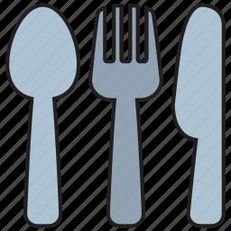 cutlery, fork, kitchen, knife, restaurant, spoon, utensil icon