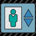 elevator, down, lift, transport, up, building