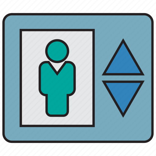 building, down, elevator, lift, transport, up icon