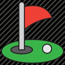ball, flag, game, golf, golfer, grass, sport icon