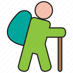 backpack, camp, camping, hiking, stick, walk, walking icon